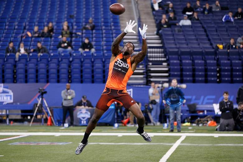 Louisville Cardinals wide receiver DeVante Parker at the 2015 NFL combine. (Getty)