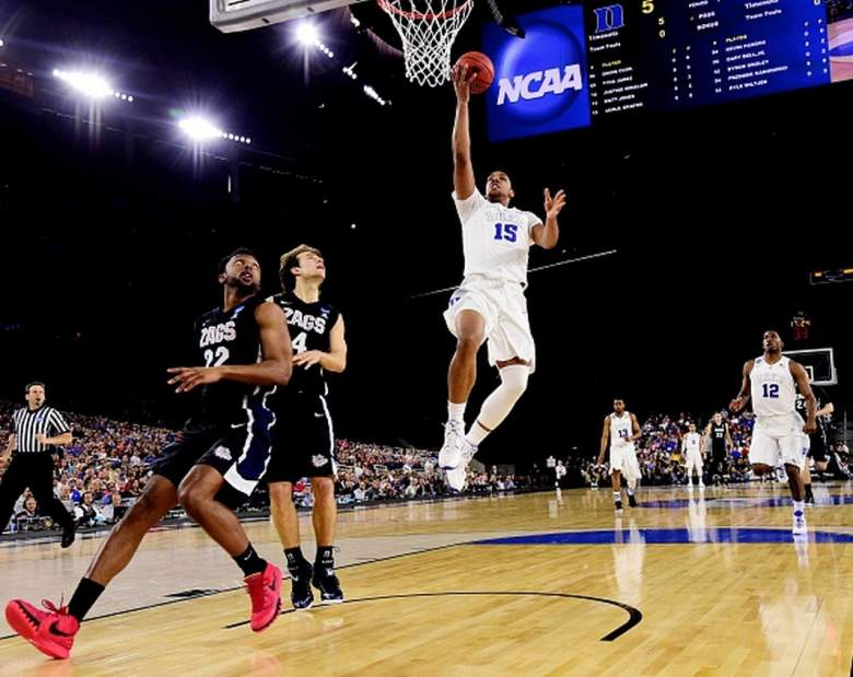 Duke's Jahlil Okafor goes up for a shot against Gonzaga in the 2015 NCAA Men's Basketball Tournament. (Getty)