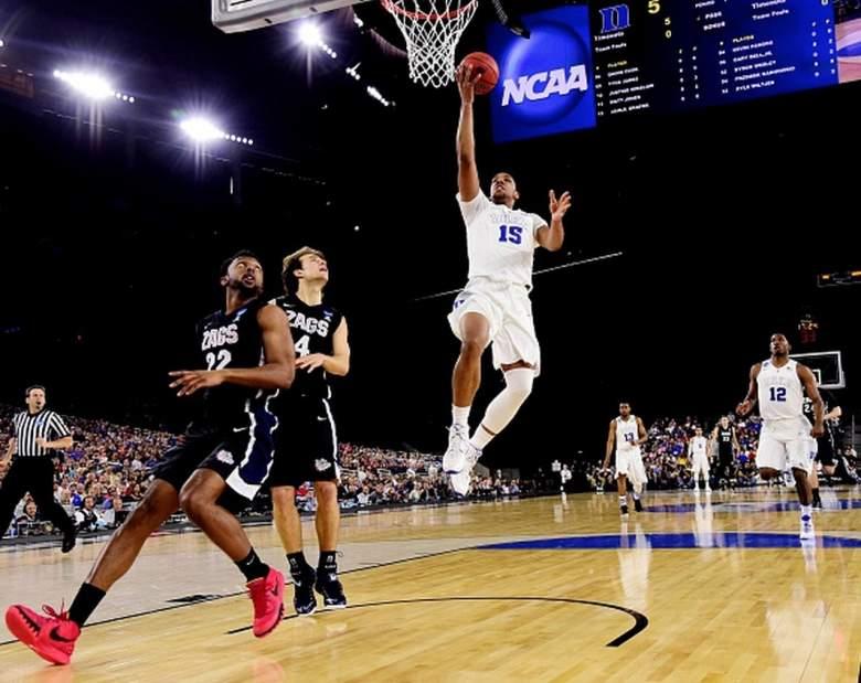Duke's Jahlil Okafor goes up for a shot against Gonzaga in the 2015 NCAA Men's Basketball Tournament. (Getty)