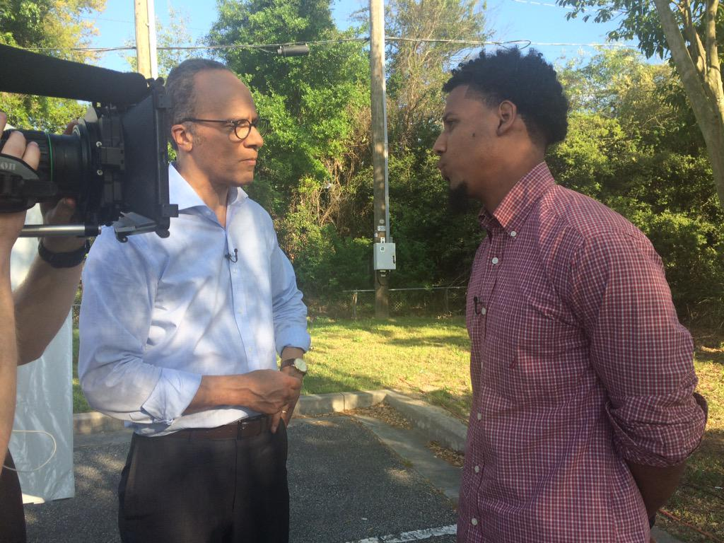 Feidin Santana, right, is interviewed by NBC Nightly News anchor Lester Holt. (Lester Holt/Twitter)