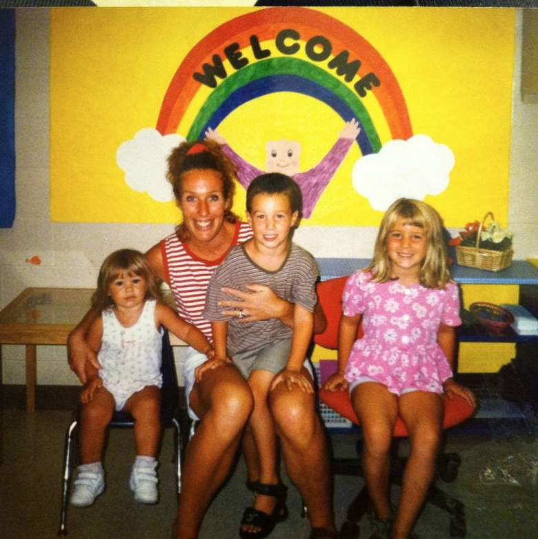 Wisconsin's Frank Kaminsky as a youngster with his mom Mary and two sisters, Hannah and Kaylee. (Facebook/Mary Stack Kaminsky)