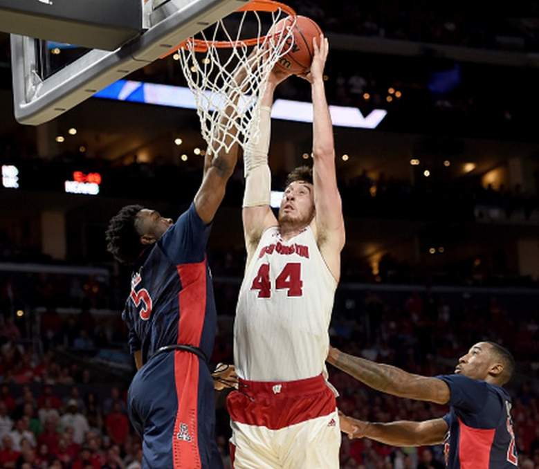 Wisconsin's Frank Kaminsky goes up for a dunk against Arizona in the 2015 NCAA Tournament. (Getty)