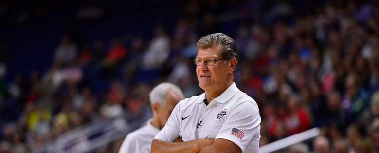 UConn women's coach Geno Auriemma at the US national and olympic team practice. (Getty)