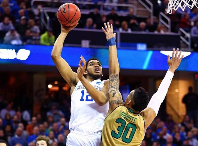 Kentucky's Karl-Anthony Towns puts up a shot against Notre Dame's Zach Auguste during the 2015 NCAA Tournament. (Getty)