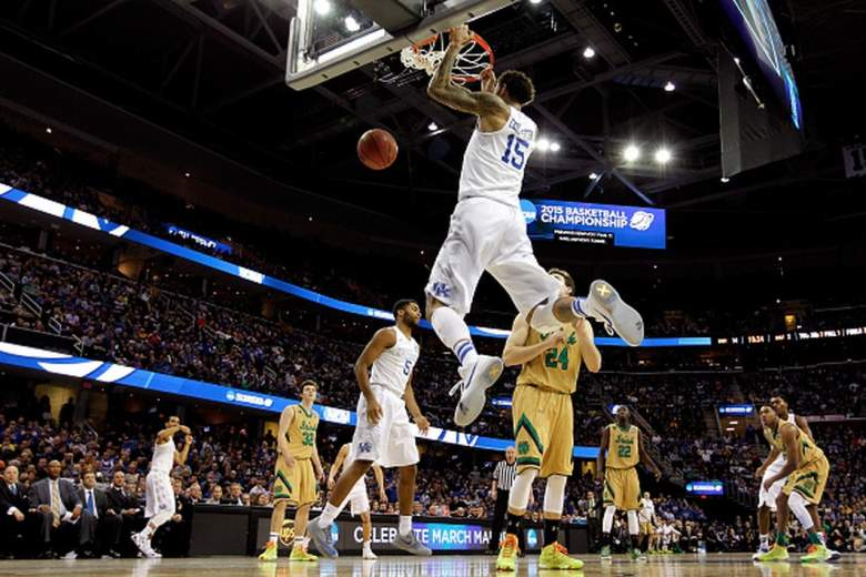 Kentucky's Willie Cauley-Stein dunks against Notre Dame during the 2015 NCAA Men's Basketball tournament. (Getty)