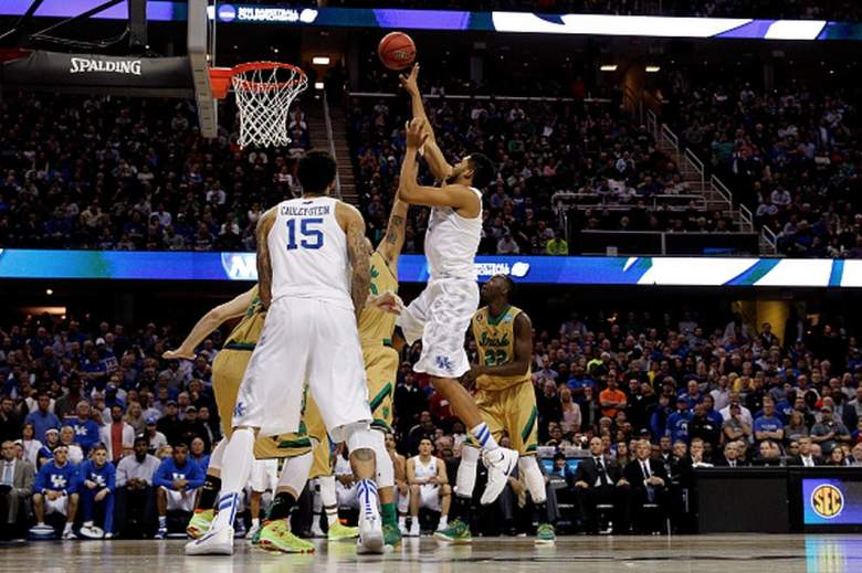 Kentucky's  Karl-Anthony Towns drives to the basket against Notre Dame during the 2015 NCAA Men's Basketball tournament. (Getty)