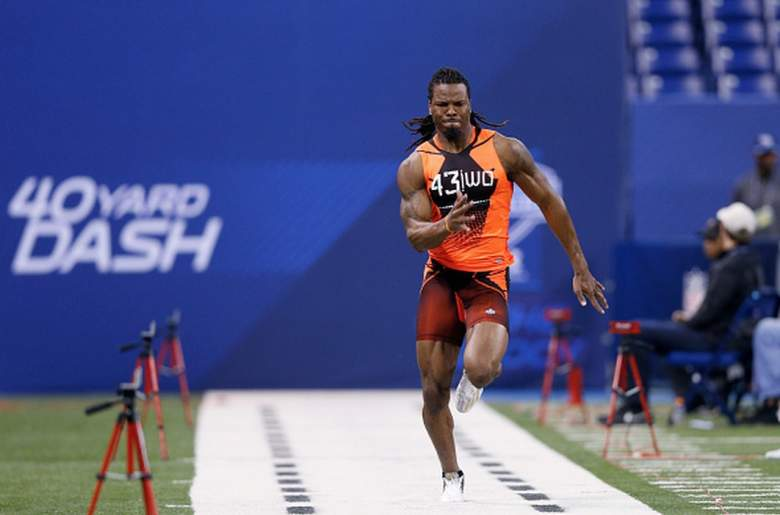 West Virginia wide receiver Kevin White running the 40-yard dash at the 2015 NFL combine. (Getty)
