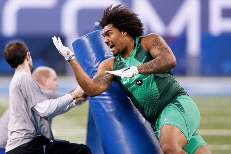 USC defensive end Leonard Williams does course work at the 2015 NFL combine. (Getty)