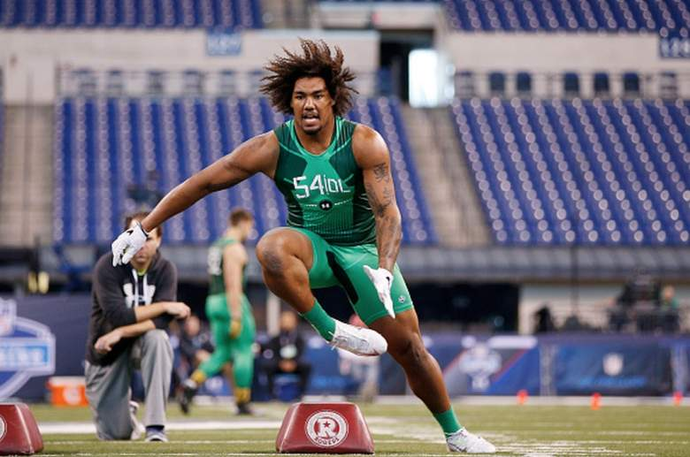 USC defensive end Leonard Williams does speed course work at the 2015 NFL combine. (Getty)