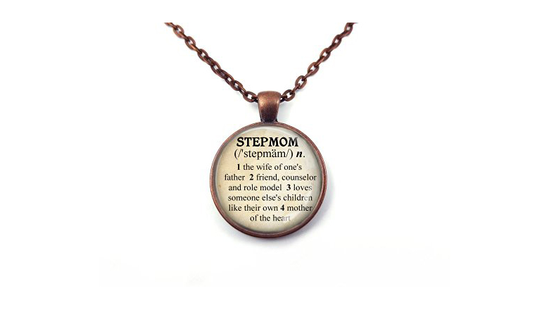 image of necklace with a dictionary stylized definition of stepmom
