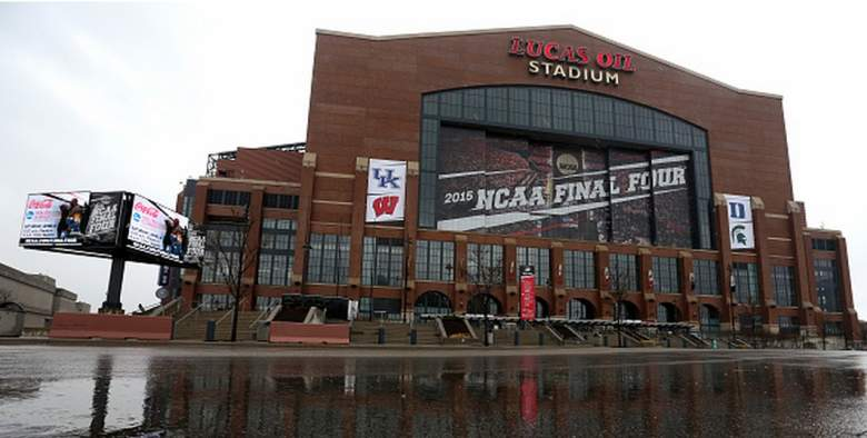 Outside view of Lucas Oil Stadium for the 2015 NCAA Men's Final Four. (Getty)