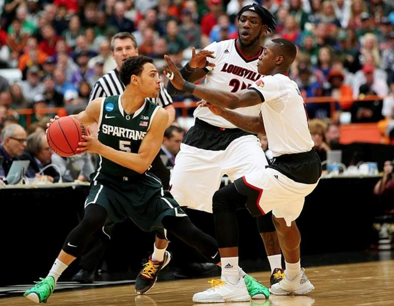 Michigan State's Bryn Forbes in action against Louisville's Montrezl Harrell during the 2015 NCAA Tournament. (Getty)