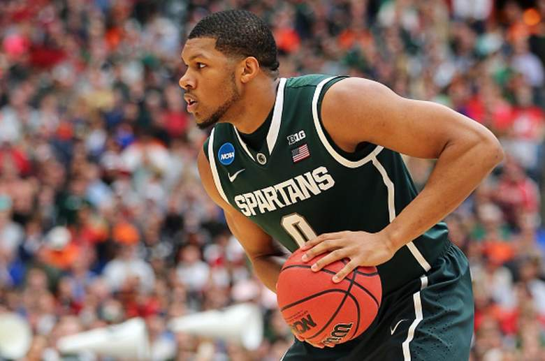 Michigan State's Marvin Clark Jr. in the Elite Eight of the 2015 Men's Basketball Tournament. (Getty)