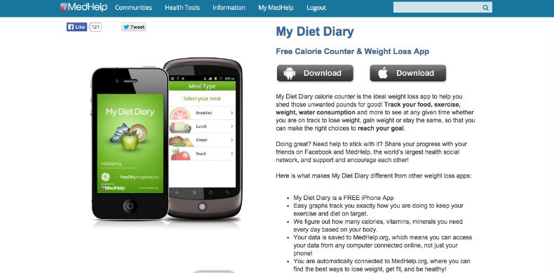 My Diet Diary, calorie counter app, fitness apps