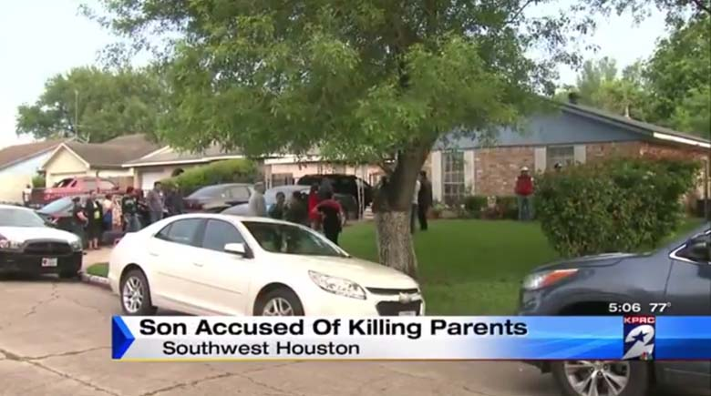 The scene outside the home after the shooting. (Screengrab via Click 2 Houston)