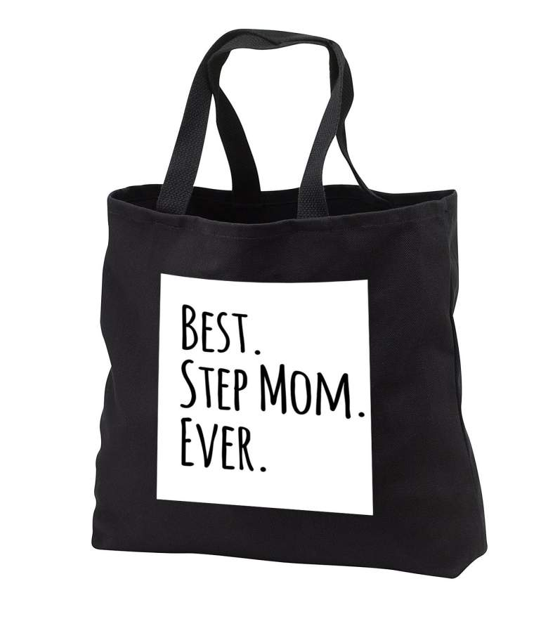 image of black tote bag that reads best step mom ever