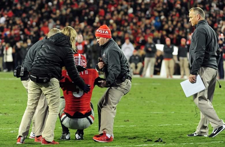 Georgia running back Todd Gurley injury. (Getty)