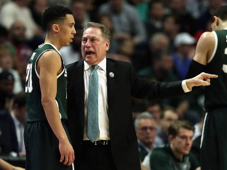 Michigan State Head Coach Tom Izzo gives instructions to Travis Trice during the Championship game of the 2015 Big Ten Men's Basketball Tournament. (Getty)