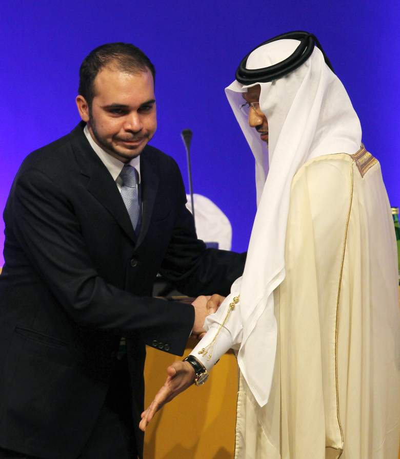 AFC president Mohammed bin Hammam, right, declares Jordan's Prince Ali bin al-Hussein, head of the Jordan Football federation, AFC president after he won the votes of the Asian Football Confederation for the FIFA vice-presidency during the 24th AFC Congress in Doha on January 6, 2011. (Getty)