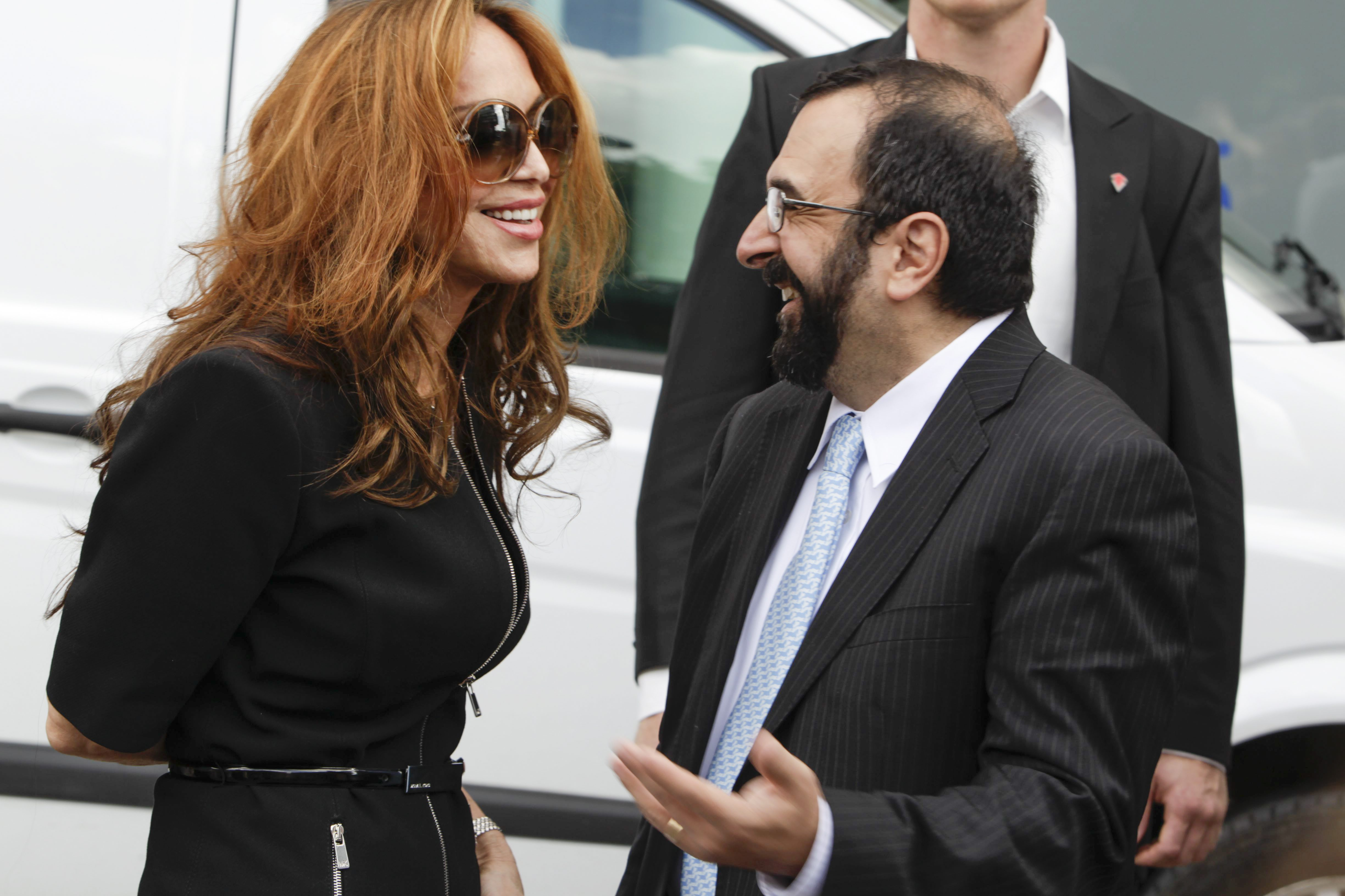 Pamela Geller, left, and Robert Spencer at an anti-Islam event in  Sweden in 2012. (Getty)