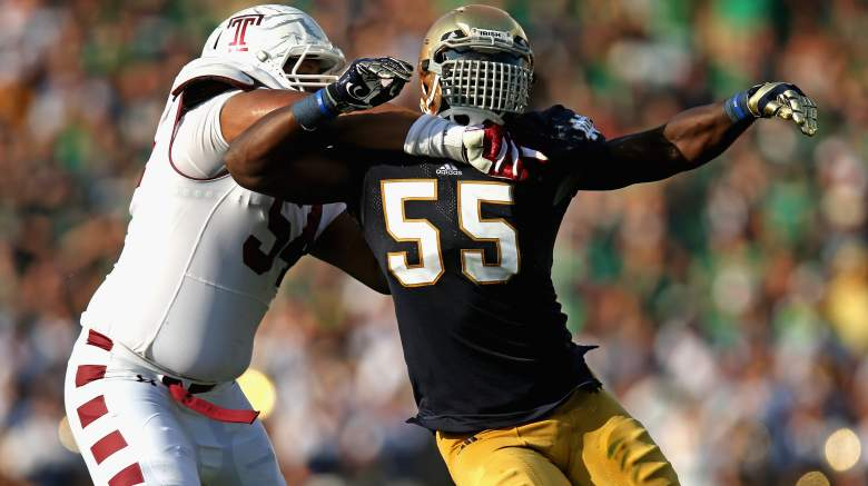 Shembo was a star on the field while at Notre Dame. (Getty)