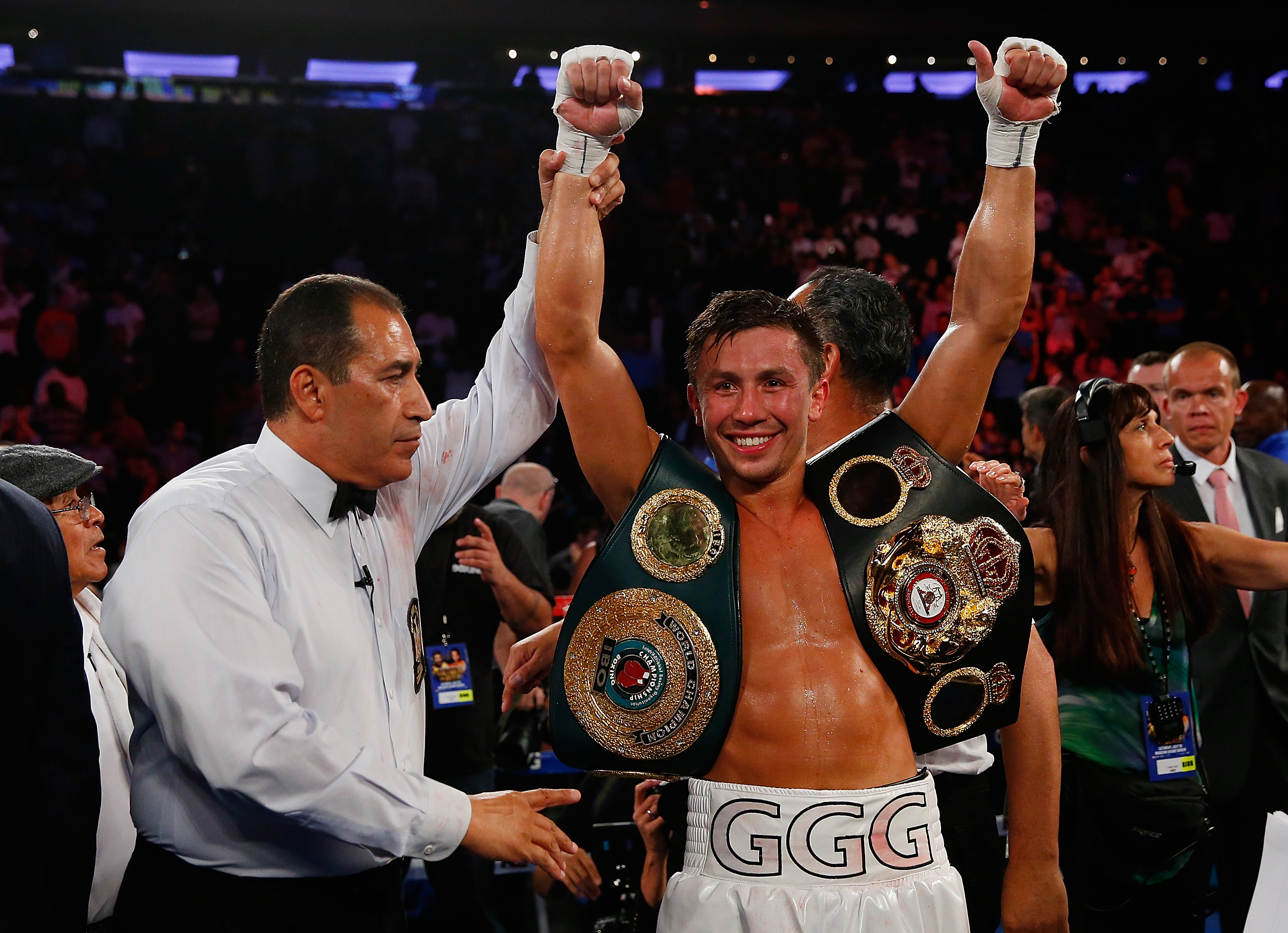 GGG celebrates after knocking out Daniel Geale in the third round to win the WBA/IBO middleweight championship at Madison Square Garden on July 26, 2014. (Getty)