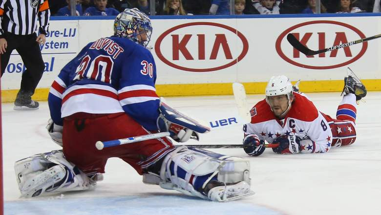 Alex Ovechin of the Capitals and Rangers goalie Henrik Lundqvist square off Wednesday night. (Getty)