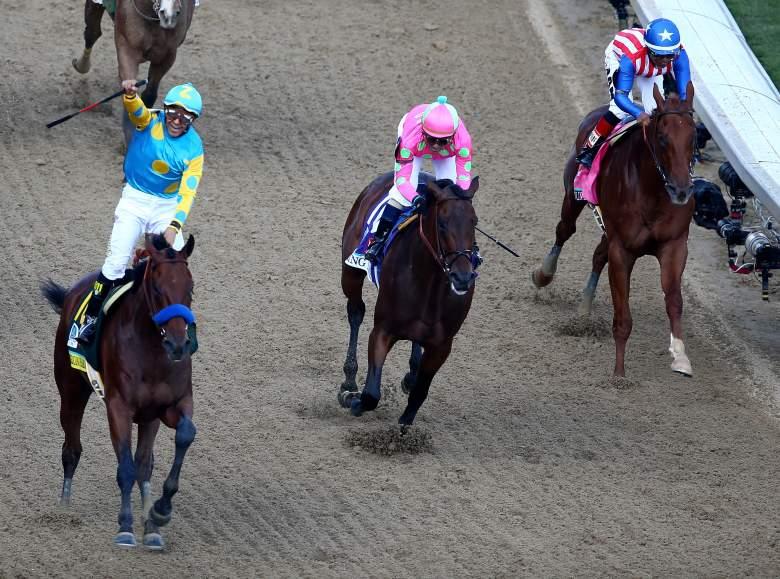 Jockey Victor Espinoza rode American Pharoah to a Kentucky Derby victory on Saturday. (Getty)