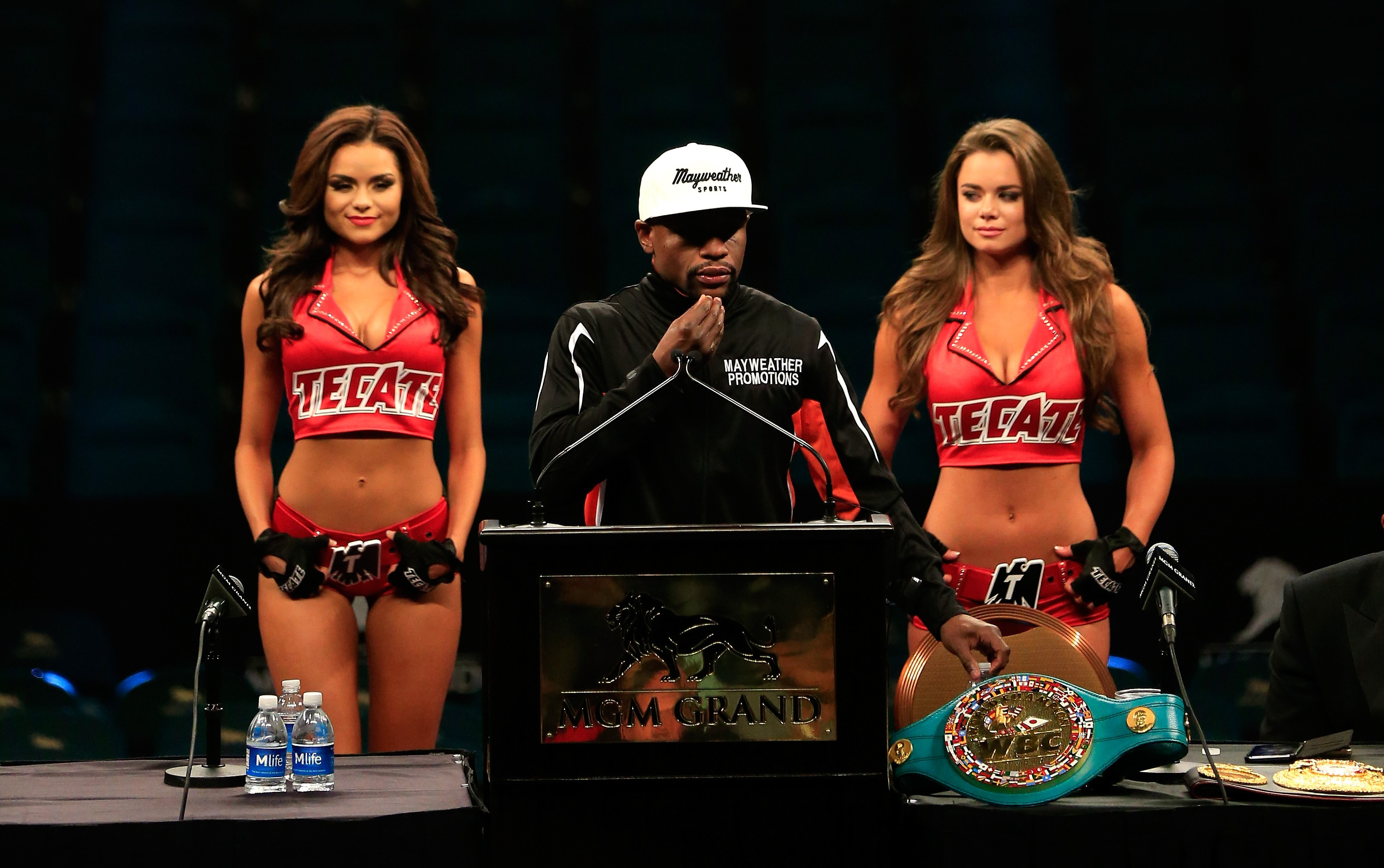 Floyd Mayweather Jr. addresses the media during the post-fight news conference after his unanimous decision victory against Manny Pacquiao in their welterweight unification championship bout on May 2, 2015 at MGM Grand Garden Arena in Las Vegas, Nevada.  Getty)