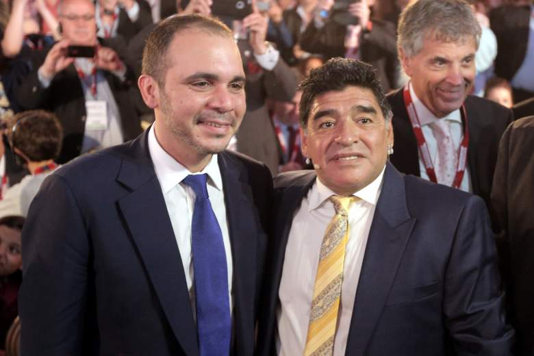 Pictured with soccer legend DIego Maradona, bin Hammad has been active in soccer reform  since taking over as an executive in Asia. getty