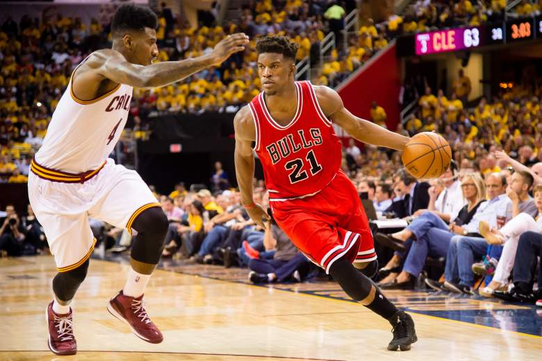Jimmy Butler and the Bulls took Game 1 from the Cavs in Cleveland. (Getty)