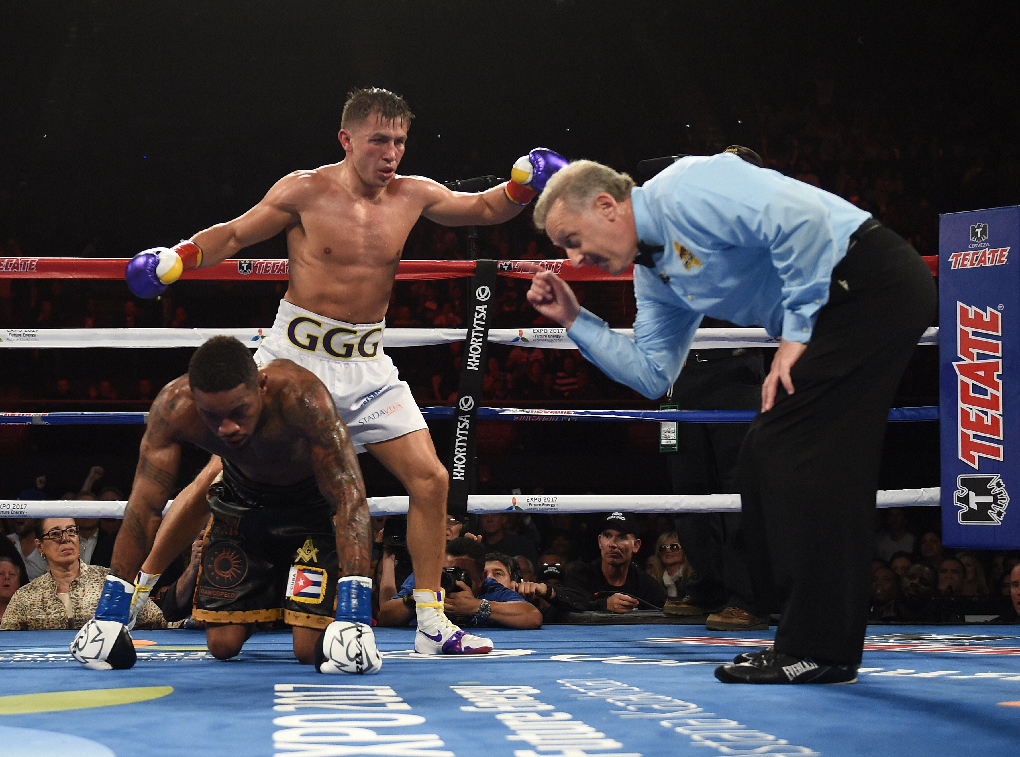 Gennady Golovkin knocks out Willie Monroe of the US in the sixth round during their Middleweight World Championship bout at the Forum Arena in Los Angeles, California on May 16, (Getty)