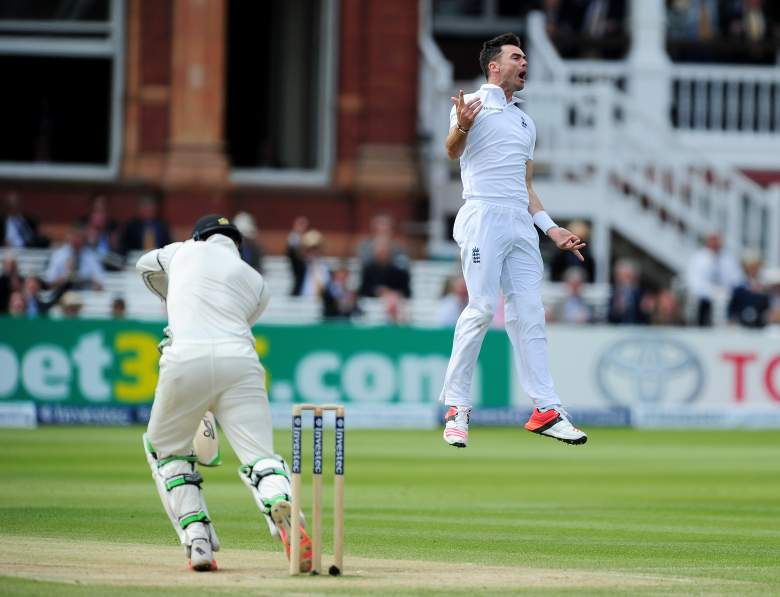 James Anderson celebrates on the 5th day of the 1st Test at Lords (Getty)