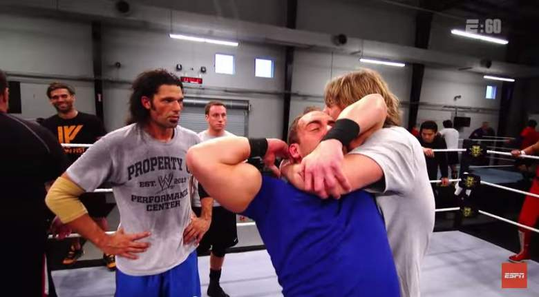 Raymond Leppan working at the WWE's Performance Center in Orlando, Florida. (YouTube/ESPN)