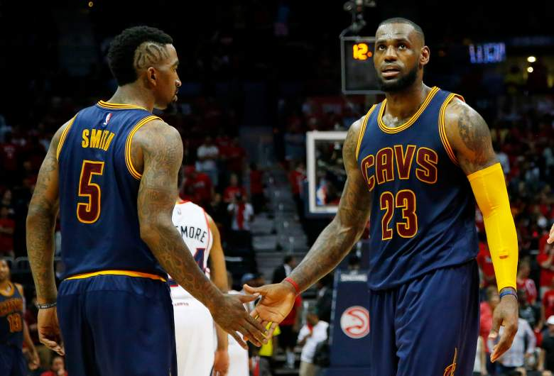 J.R. Smith, left, and LeBron James were too much for the Hawks in Game 1. (Getty)