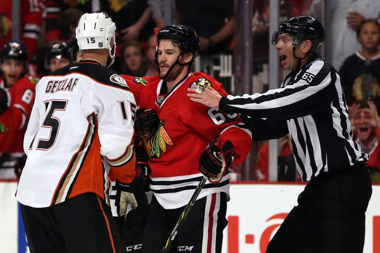 The Blackhawks and Ducks battle it out Saturday night for a spot in the Stanley Cup Final. (Getty)