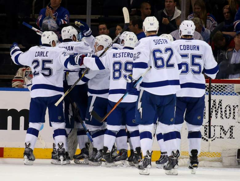 The Tampa Bay Lightning celebrate their Game 7 win over the Rangers on Friday night. (Getty)