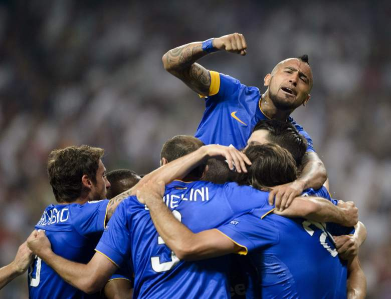 Juventus celebrates after Alvaro Moratas 57th minute strike that sent Juventus through to the Champions League final against Barcelona on June 6, 2015. Juventus and Real Madrid tied 1-1, but Juventus won 3-2 on aggregate goals.