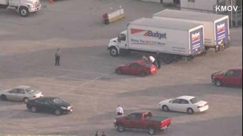The scene after Clark's body was found. (Screengrab via KMOV)