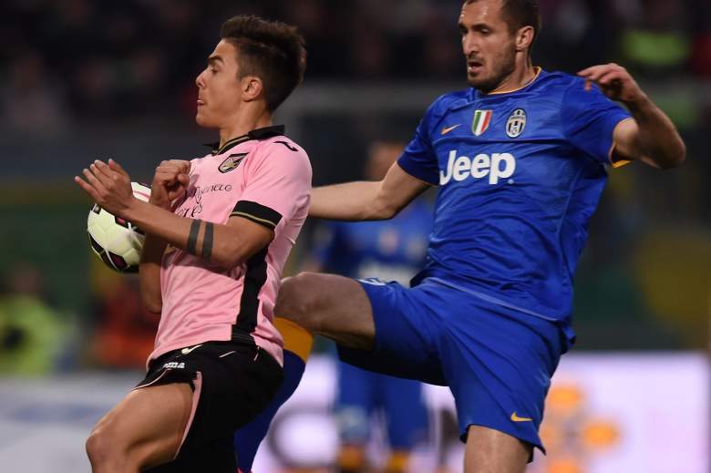 Seen here against Juventus in March 2015, Paulo Dybala will join Giorgio Chellini and Italian champions Juventus in 2015-2016.