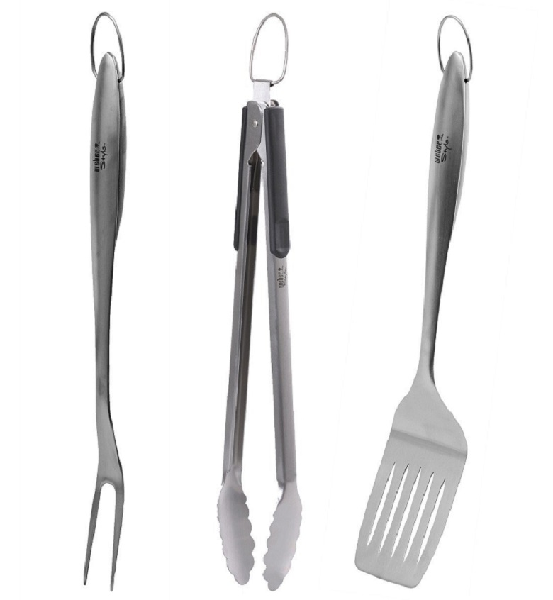 Weber Style 6445 Professional-Grade Stainless-Steel 3-Piece Barbeque Tool Set, weber 3-piece barbeque set, weber grilling set, weber grilling accessories