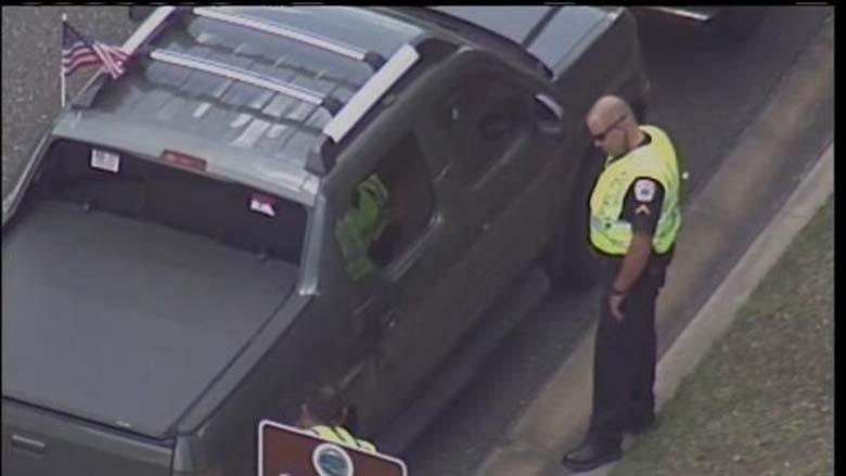 George Zimmerman's truck at the scene. (Screengrab via WKMG)