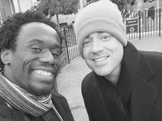 Anthony Riley, left, with The Voice host Carson Daly. Facebook