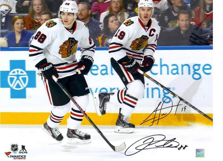 Jonathan Toews and Patrick Kane, Jonathan Toews autograph, Patrick Kane autograph