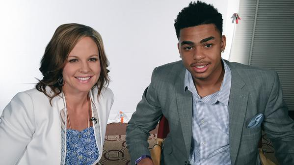 Shannon Spake with NBA prospect D'Angelo Russell. Spake will interview players who have been selected during Thursday night's draft. (Twitter/SSpakeESPN)