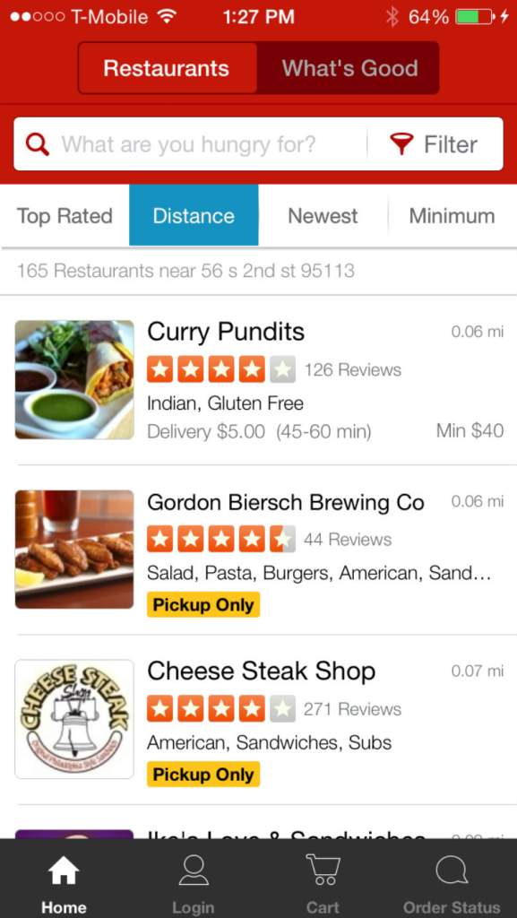 free delivery apps, food and drink apps, take out apps, EAT 24