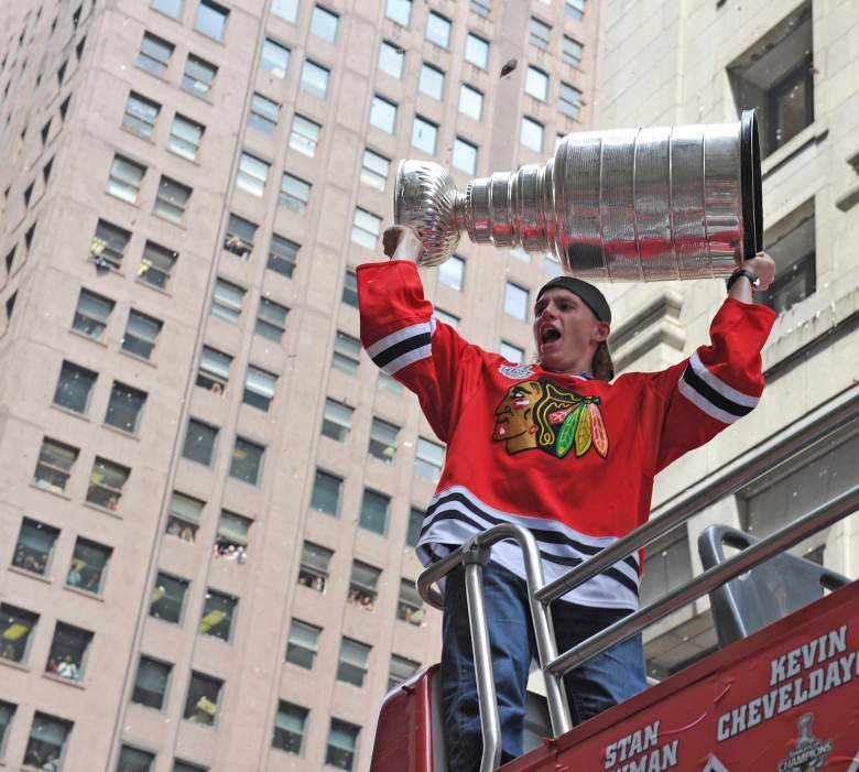 CHICAGO - JUNE 11: Patrick Kane of the Chicago Blackhawks hoists the Stanley Cup during the victory parade on June 11, 2010 in Chicago, Illinois. (Photo by Jim Prisching/Getty Images)