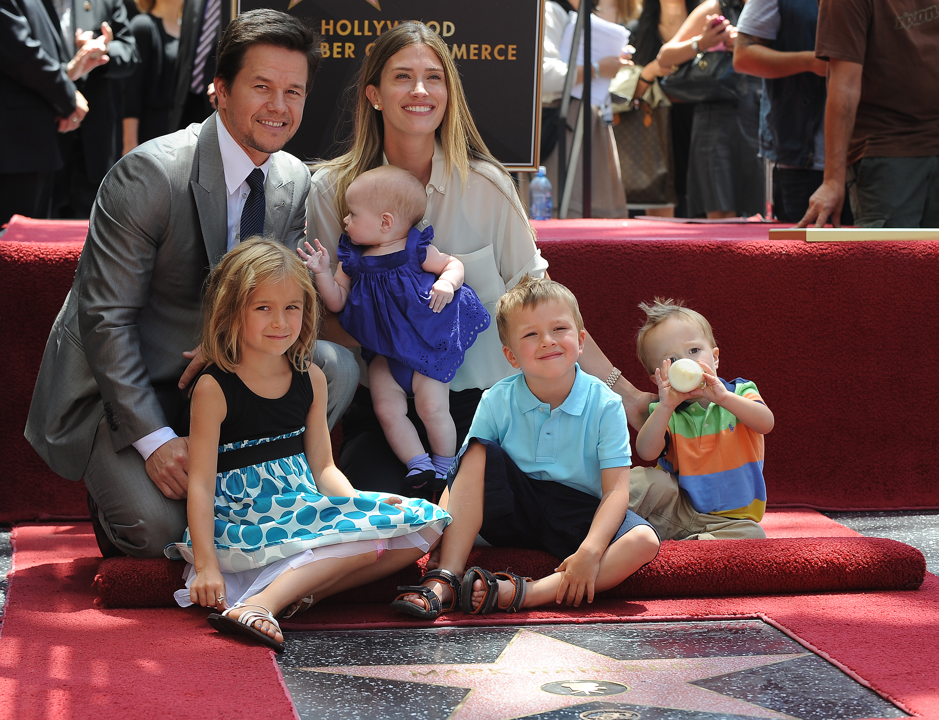 Mark Wahlberg poses with his family as he is honored with a star on the Hollywood Walk of Fame. (Getty)