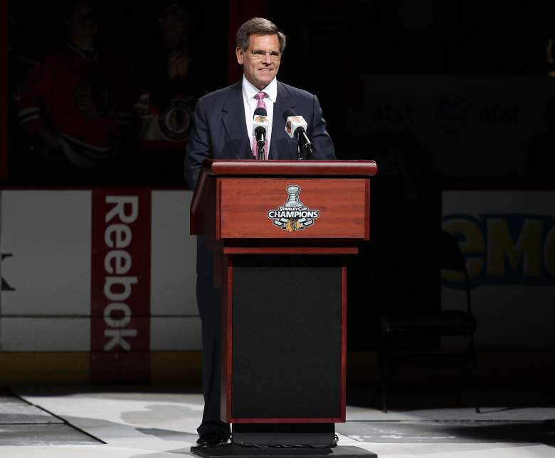 Chicago Blackhawks owner rocky Wirzt giving a speech during the team's home opener the season following their 2010 Stanley Cup win. (Getty)