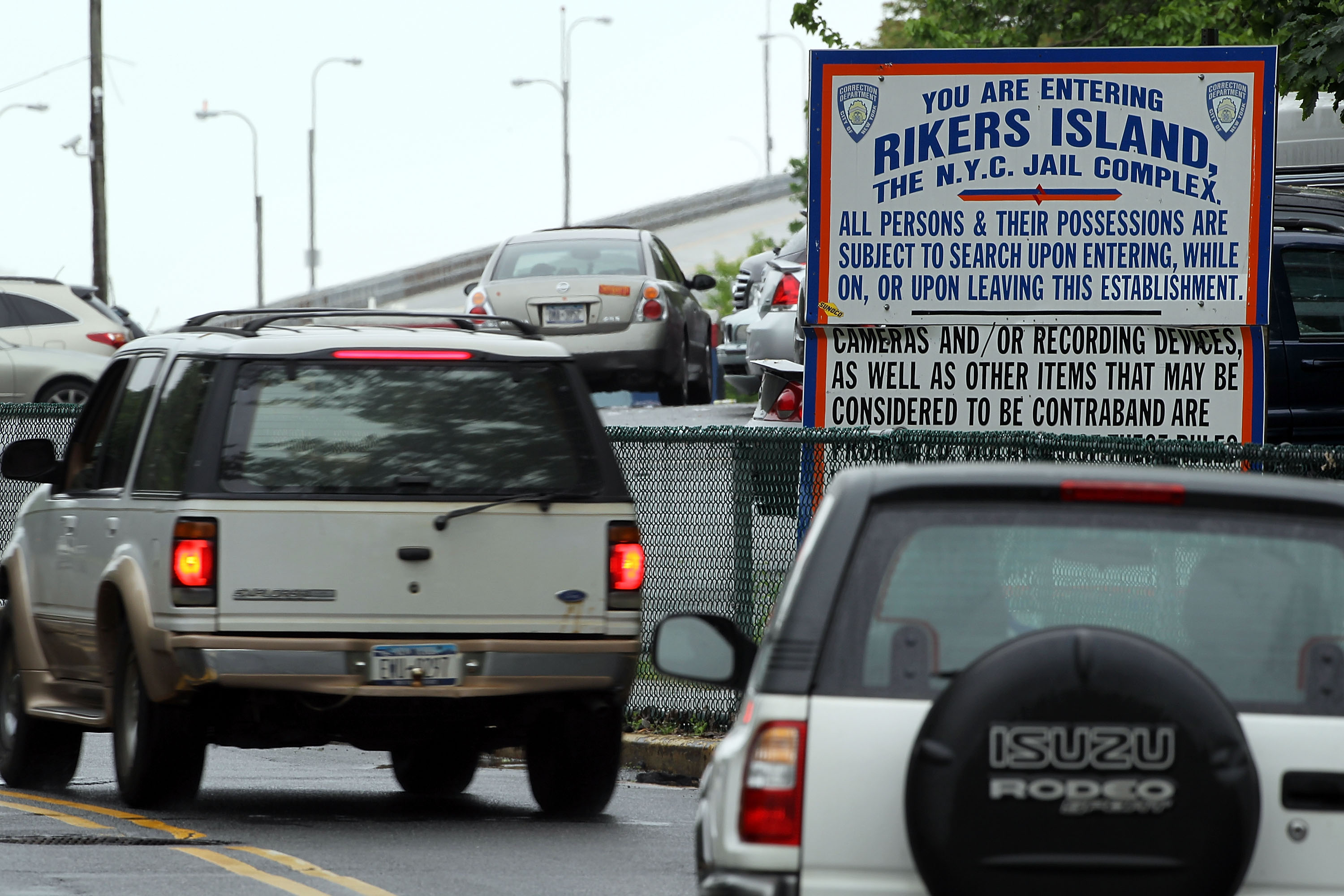 The entrance to Rikers Island. (Getty)